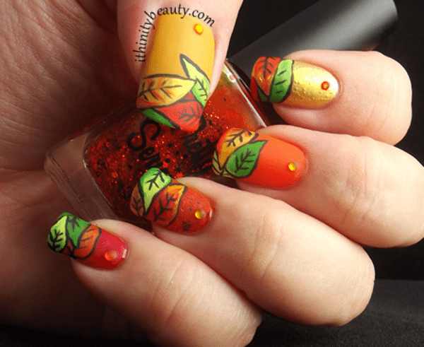 crisp autumn leaves nailart bmodish
