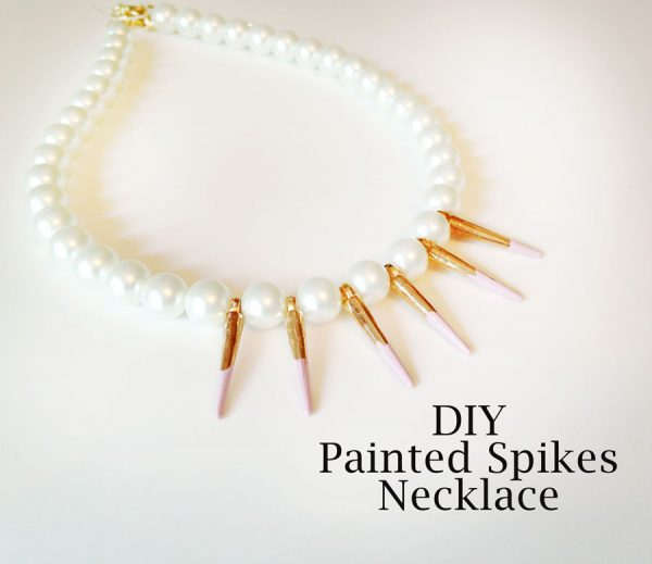 diy painted spikes pearl necklace bmodish