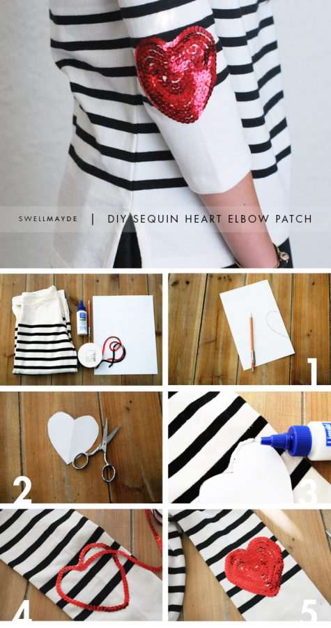 diy sequin love elbow patch bmodish