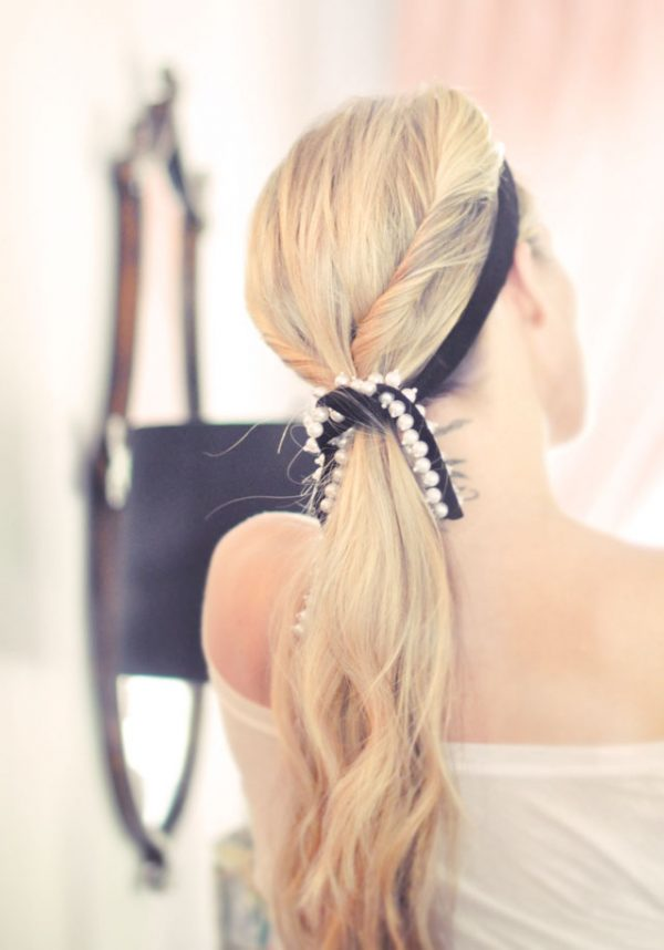diy velvet ribbon pearl hair accessories bmodish