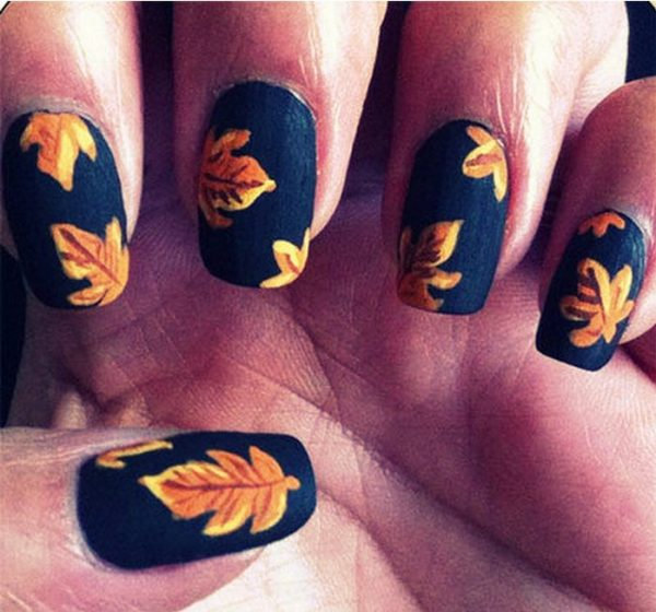 16 fall nail art designs youll fall in love with be modish fall leaves nails bmodish prinsesfo Image collections
