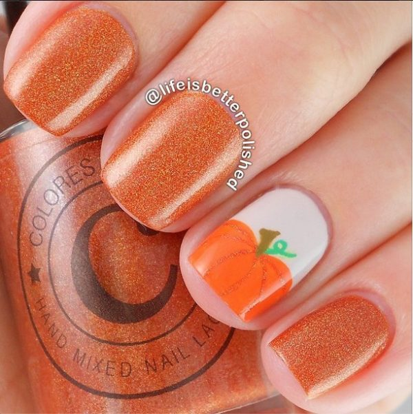 16 fall nail art designs youll fall in love with be modish fall pumpkin nailart bmodish prinsesfo Choice Image