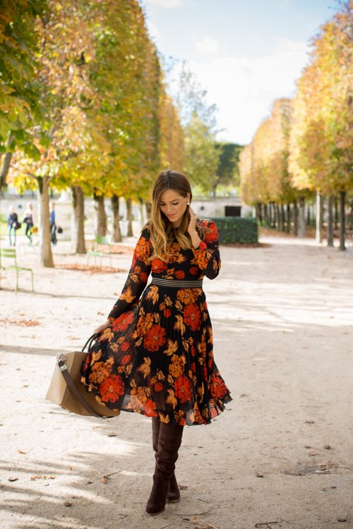 gal-meets-glam-michael-kors-boots-nordstrom how to wear floral dress for fall bmodish