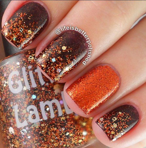 glitter fall nail design bmodish
