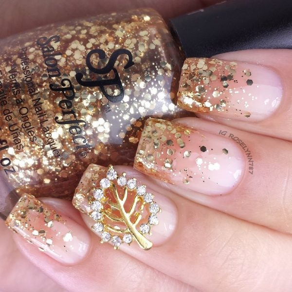 golden autumn glitter fall nailart bmodish