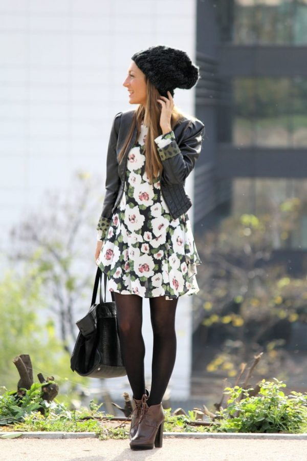 how to wear floral dress for fall bmodish