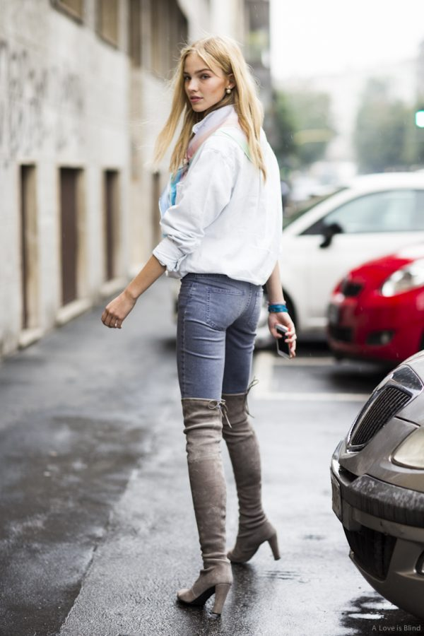 how to wear over the knee boots over the jeans bmodish