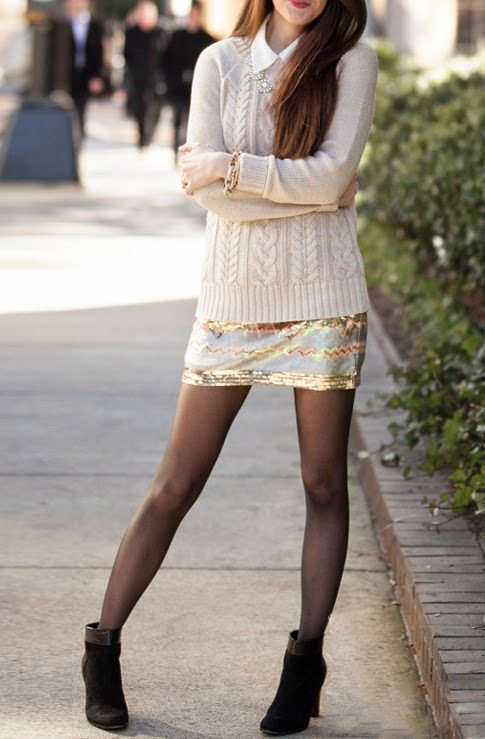 knit jumper with shirt and mini skirt bmodish
