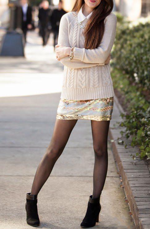knit jumper with shirt and mini skirt bmodish