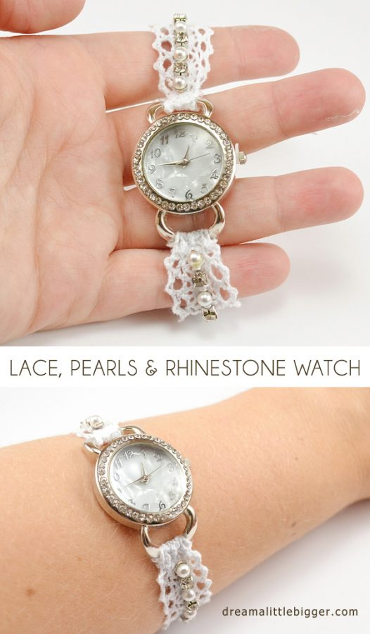 lace pearl rhinestone watch diy bmodish