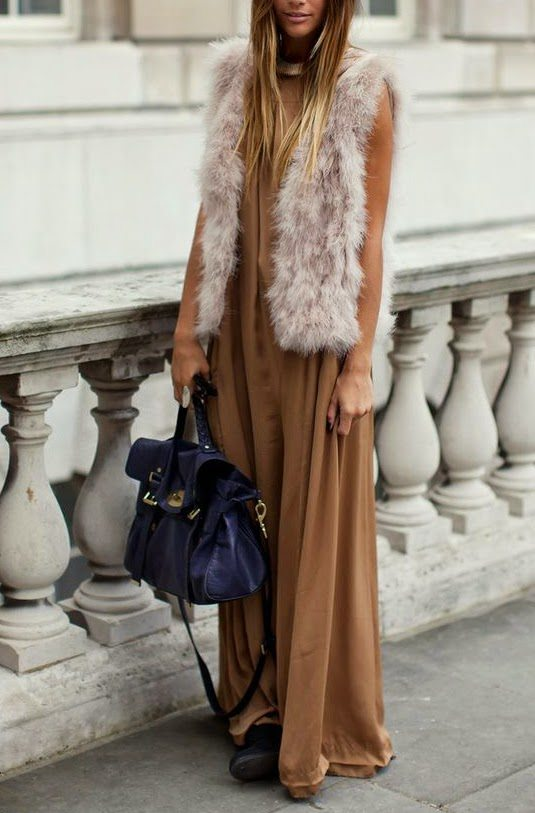 maxi dress with fur vest bmodish