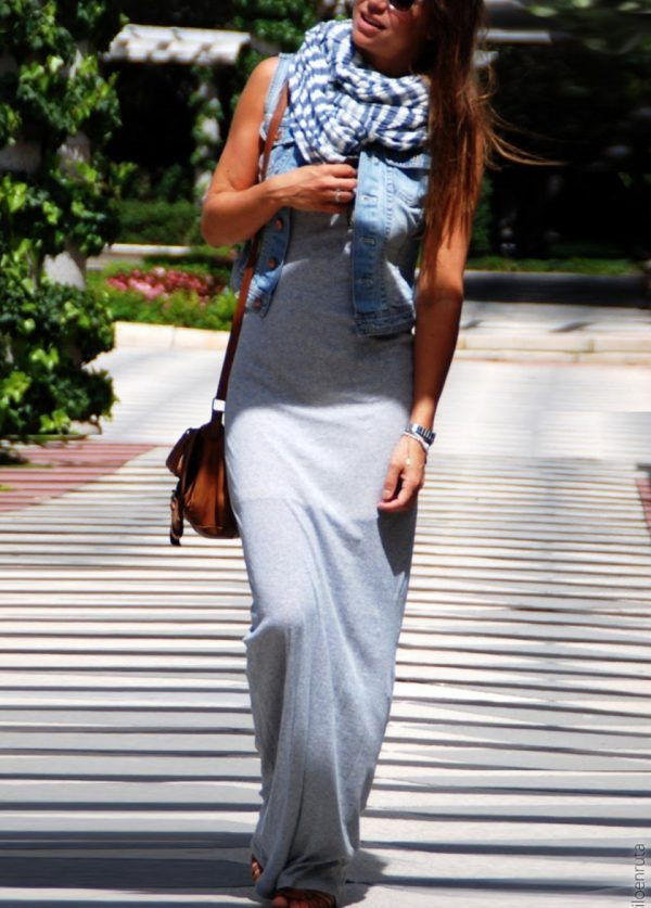 maxi dress with vest and scarf bmodish