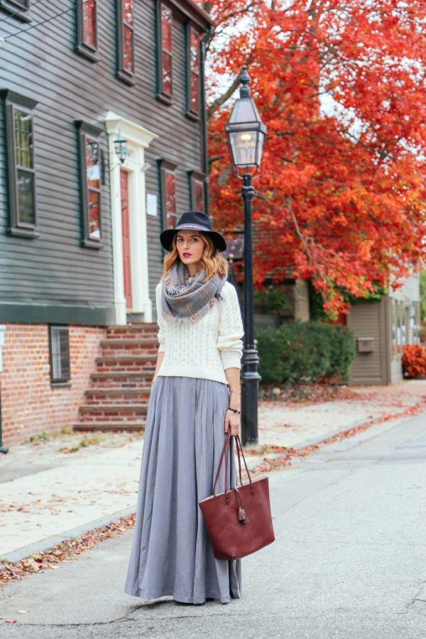 maxi skirt with sweater and fedora hat for fall fashion bmodish