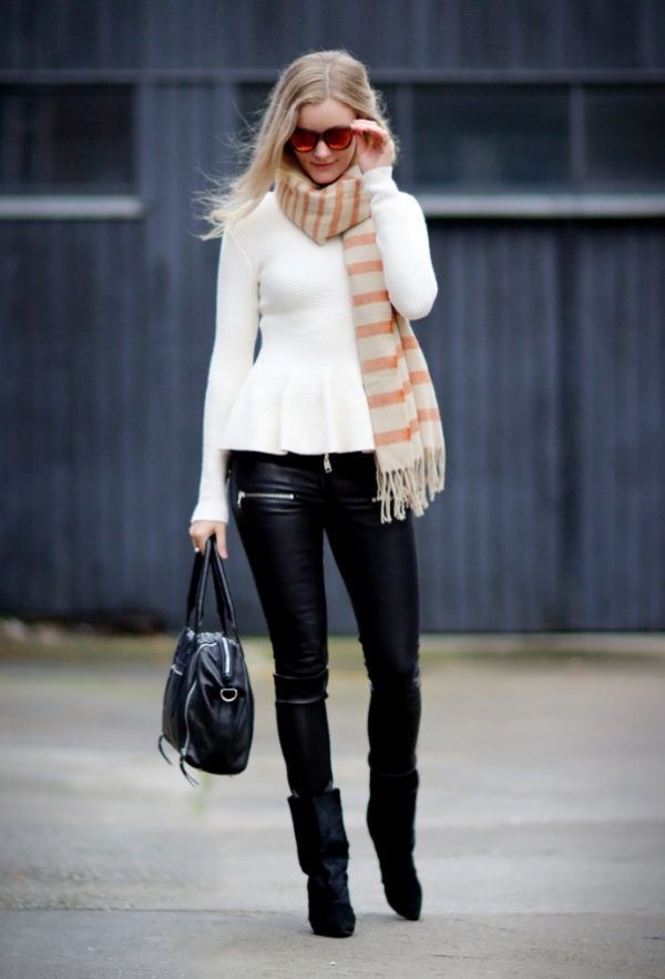 peplum top with leather jacket bmodish