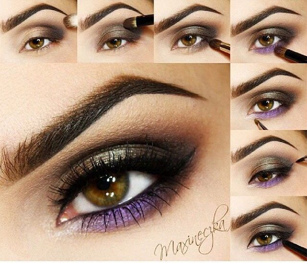 purple and bronze eye makeup bmodish