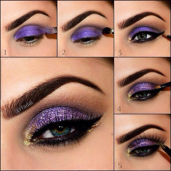 gold purple eye makeup tutorial bmodish