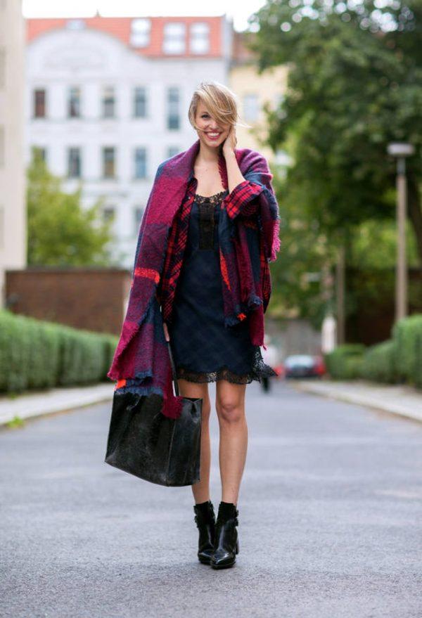 red knit tartan scarf bmodish
