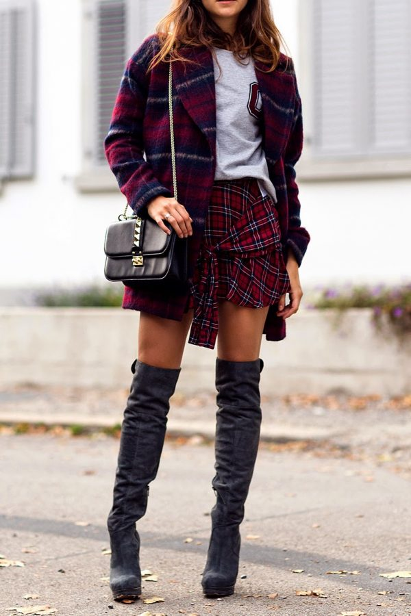 tartan skirt and high knee boots bmodish