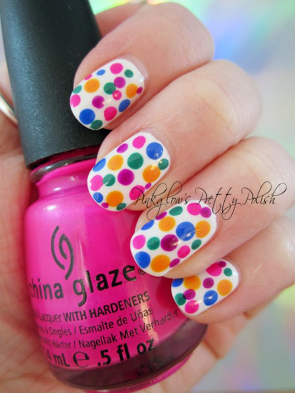 Multicoloured-dots-nail-art bmodish
