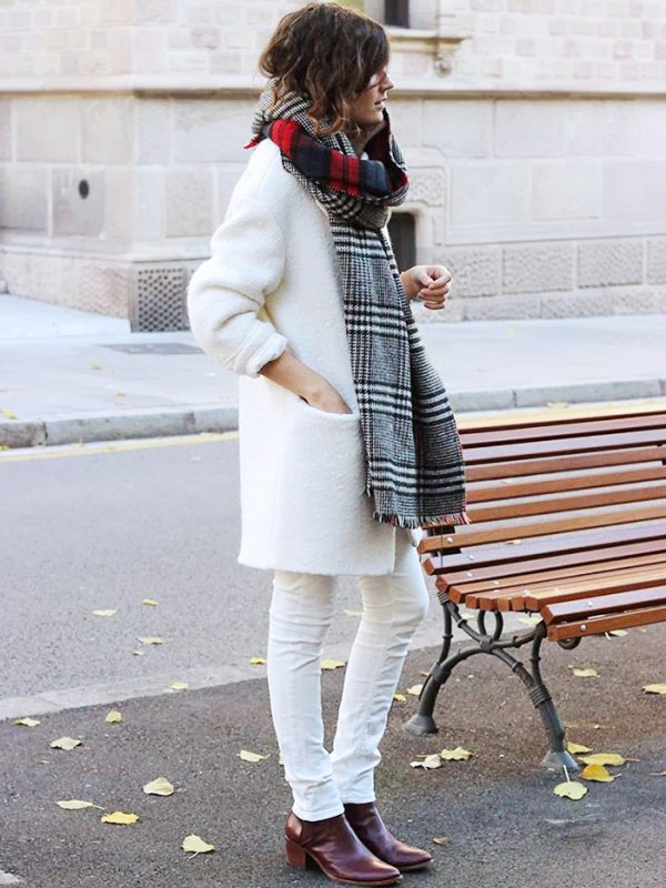 all white with burgundy and tartan scarf bmodish