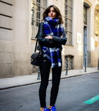 blue plaid scarf casual fall outfit bmodish