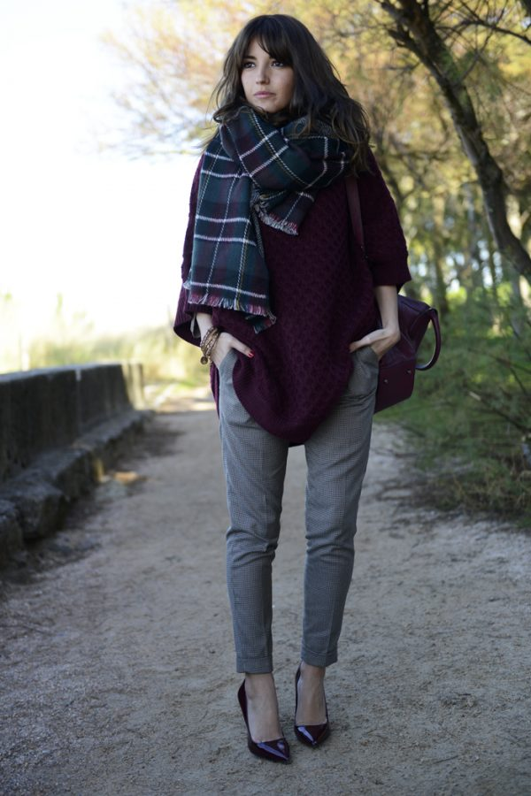 burgundy long sweater with plaid scarf fall fashion bmodish