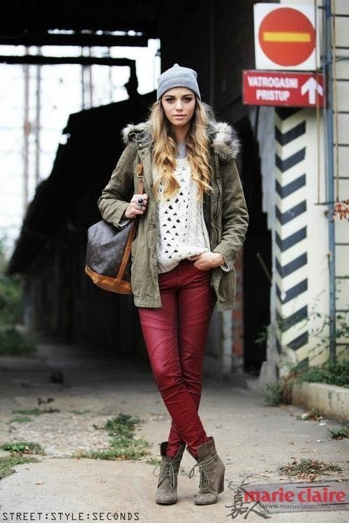 burgundy pants with military parka bmodish