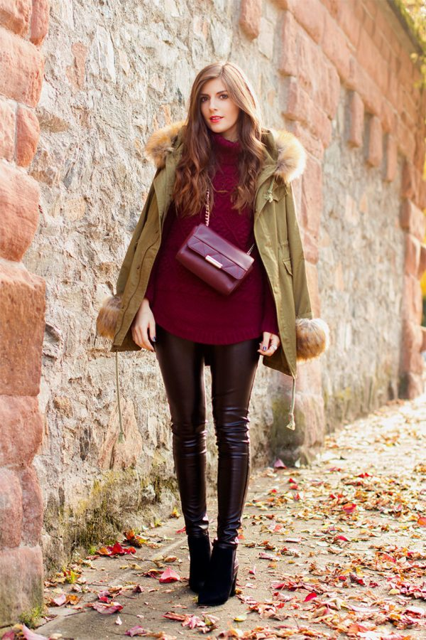 burgundy sweater with military jacket bmodish
