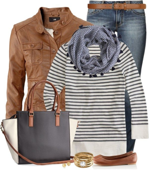 casual leather brown jacket and striped top fall outfit bmodish 2014