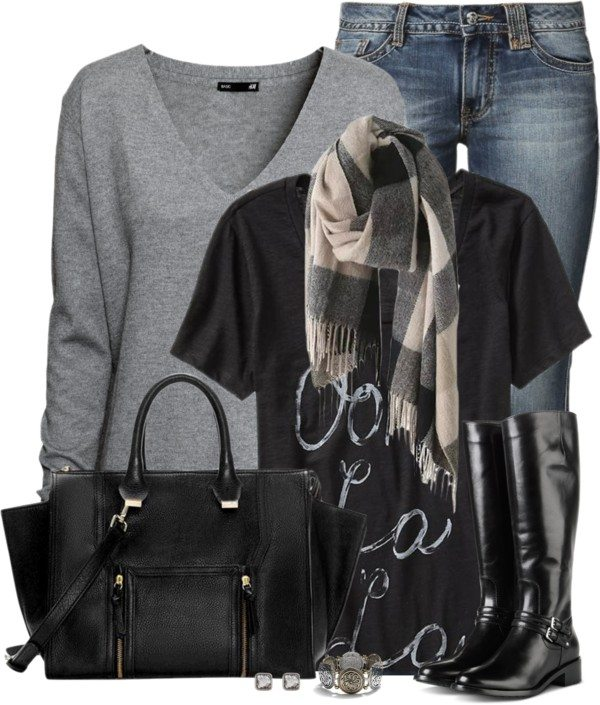 casual v neck jumper fall outfit bmodish 2014