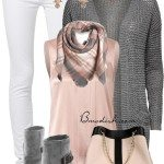 classy elegant pink grey fall outfit combination bmodish 2014