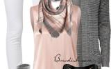 classy elegant pink grey fall outfit combination bmodish 2014
