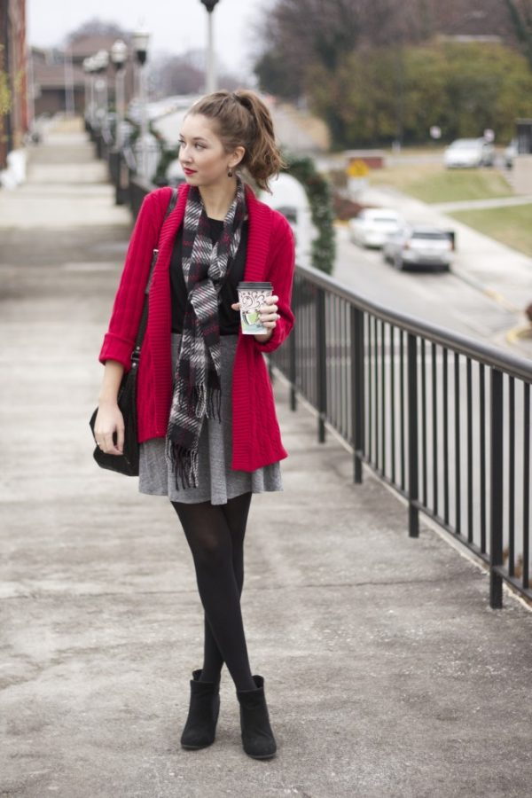 cute red cardigan with tartan scarf for fall winter fashion bmodish
