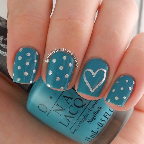 easy blue silver polka dots nails bmodish
