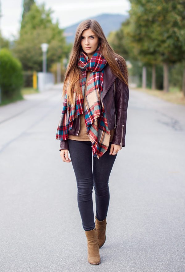 edited-leather-asos-maroon with plaid scarf bmodish