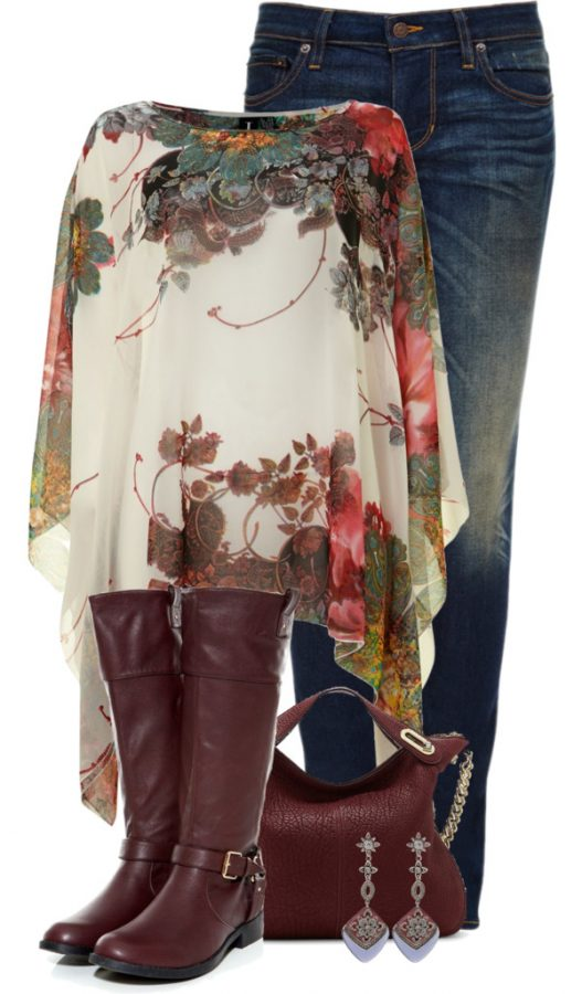 floral cape fall outfit bmodish 2014