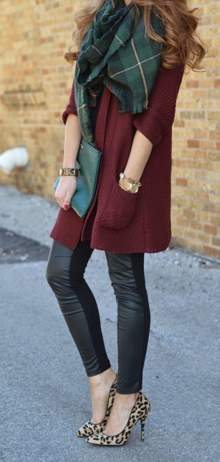 forest green plaid scarf with burgundy coat fall fashion bmodish
