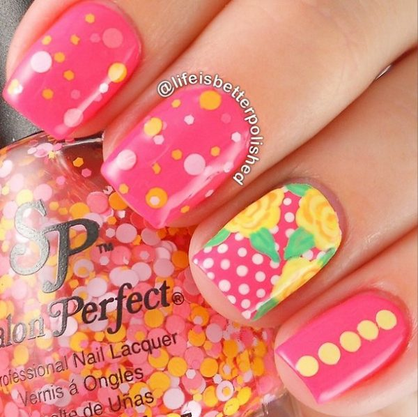 glitter and polka dots nailart bmodish