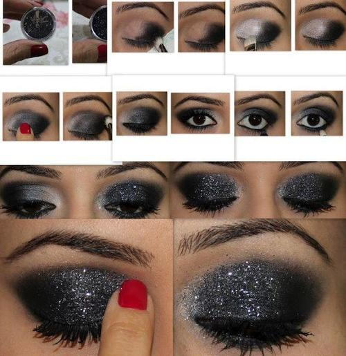 glitter black smokey eye makeup tuturial bmodish