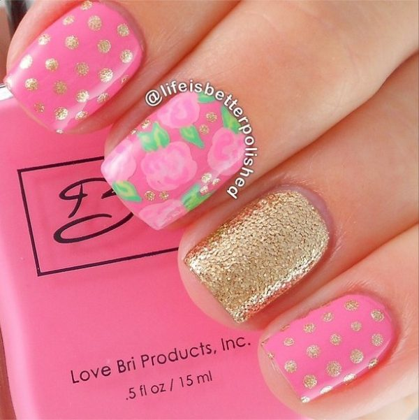 gold accents pink polka dots nails bmodish