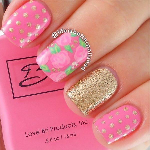 gold accents pink polka dots nails bmodish