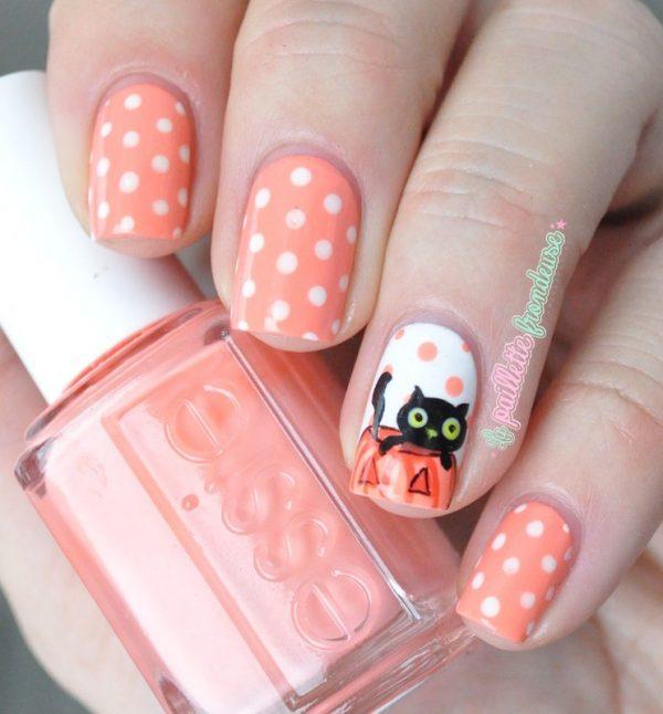 halloween_black_cat_pumpkin_polka dots nails bmodish