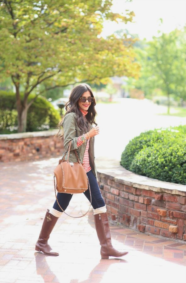 how to wear a utility jacket, tory burch boots, free people boot socks, karen walker praise keeper sunglasses bmodish