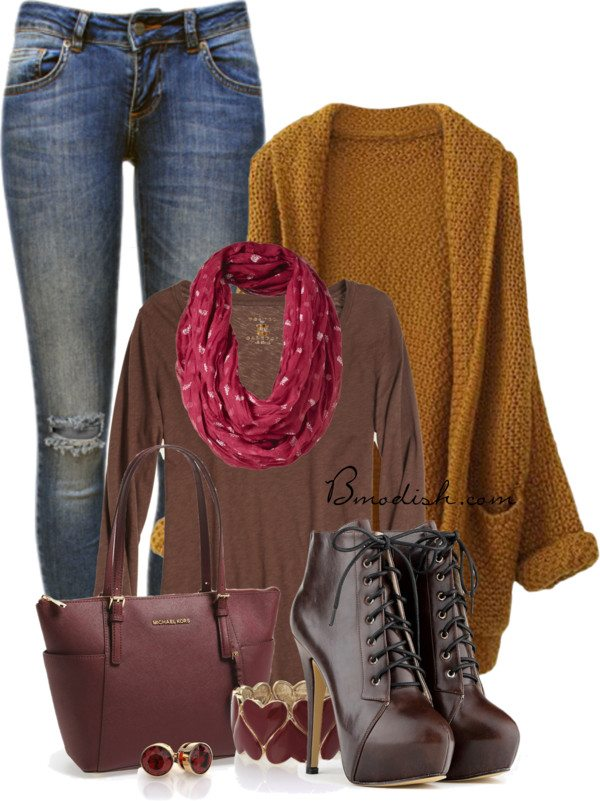 infinity scarf with mustard oversize cardigan fall outfit bmodish 2014