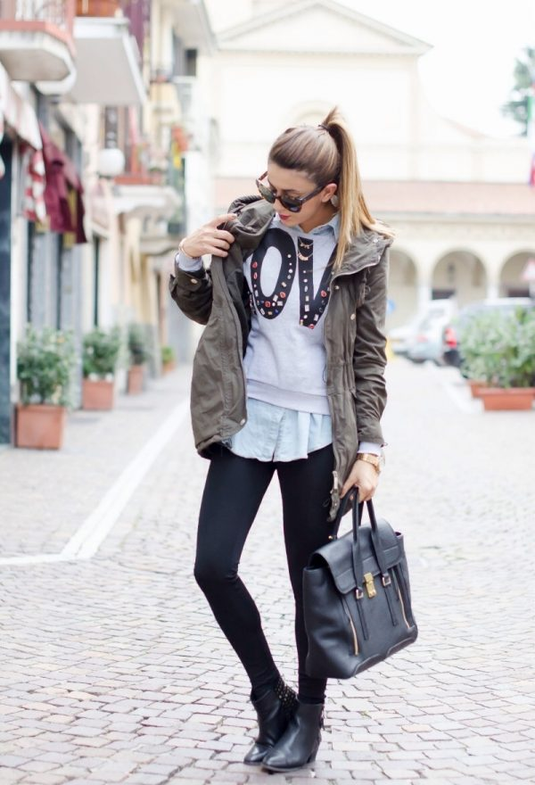 light-teal-black with military jacket fall fashion bmodish