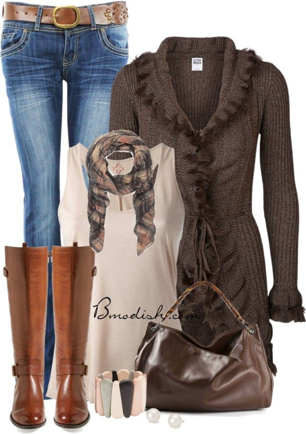long knitted ruffle cardigan fall outfits polyvore bmodish 2014