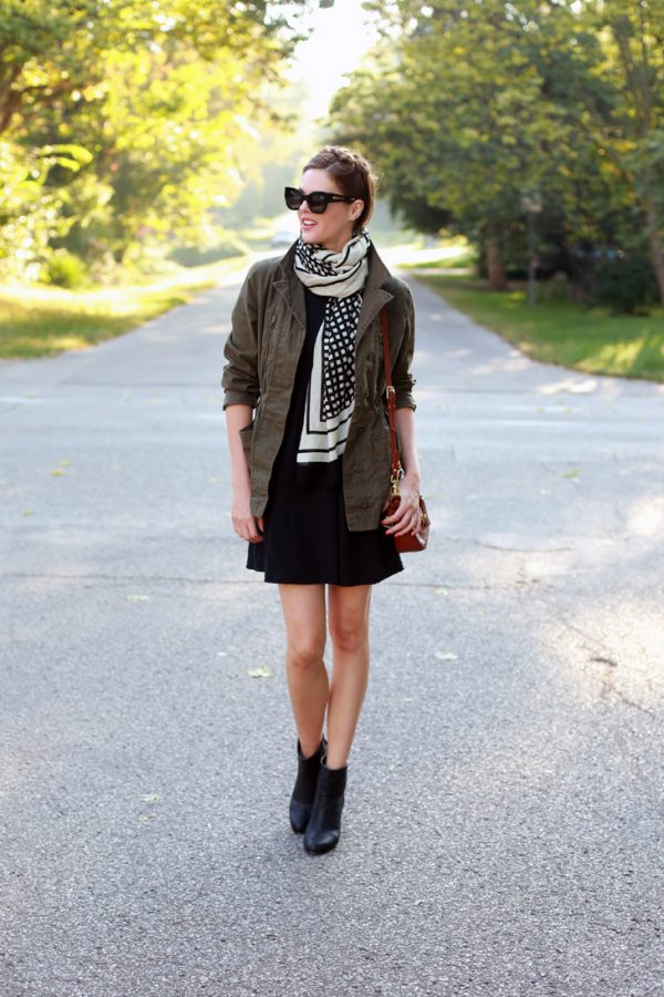 military jacket and dress fall fashion bmodish