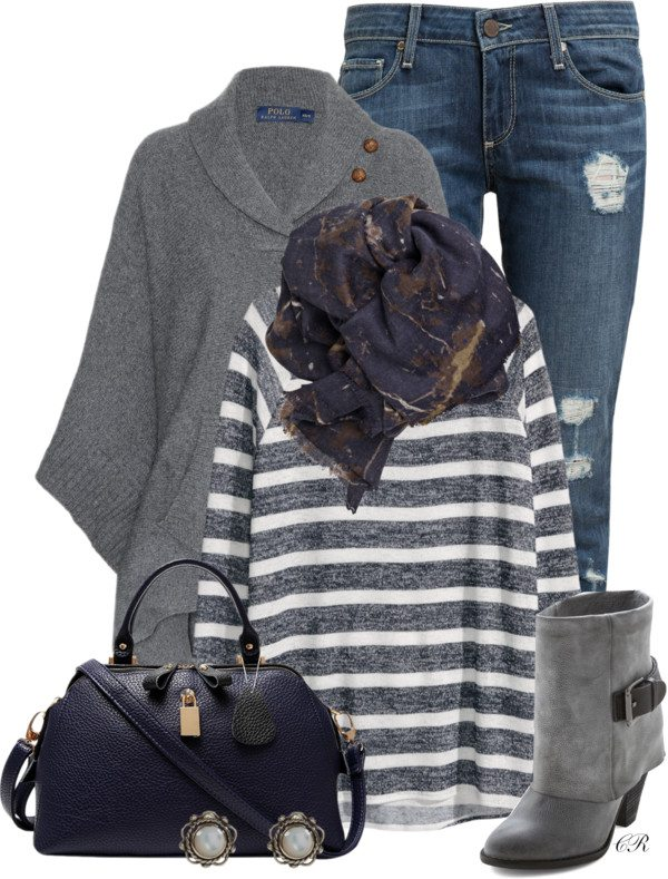 navy and gray fall outfit idea bmodish 2014