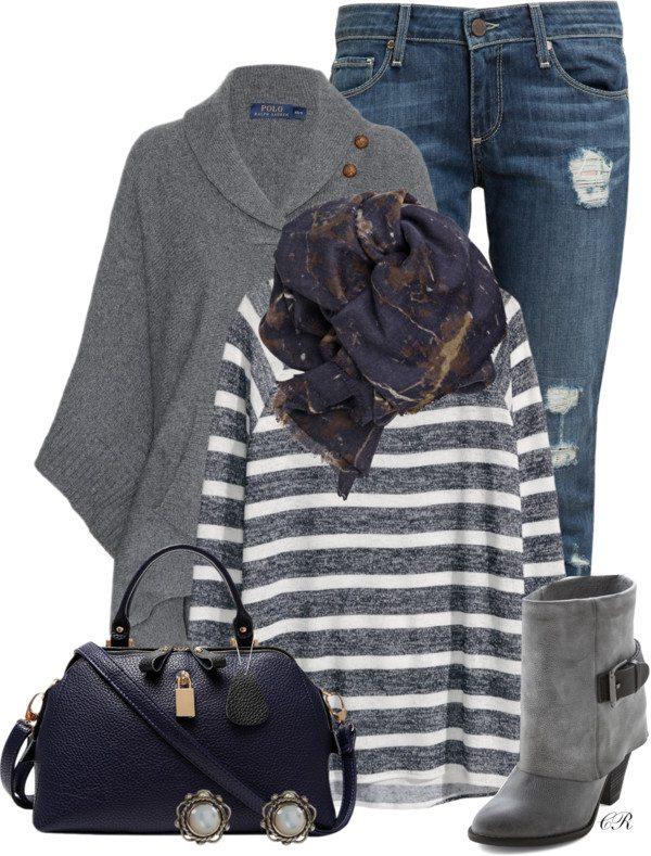 navy and gray fall outfit idea bmodish 2014