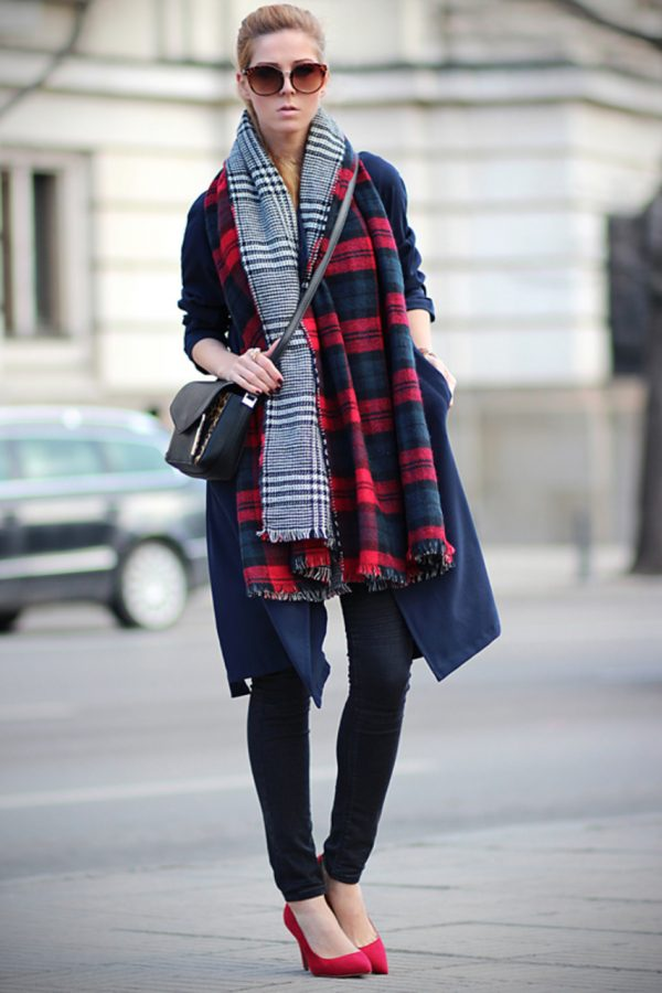 oversize tartan plaid scarf bmodish